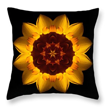 Yellow Daffodil I Flower Mandala Throw Pillow