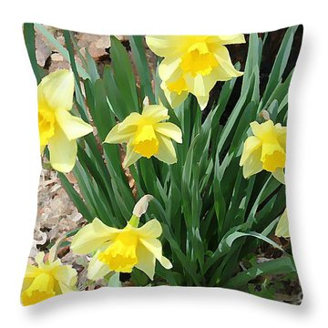 Yellow Daffodils Throw Pillow by Judy Palkimas