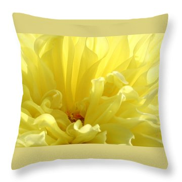 Yellow Dahlia Burst Throw Pillow by Ben and Raisa Gertsberg