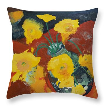 Yellow Daisies Throw Pillow by Joseph Demaree