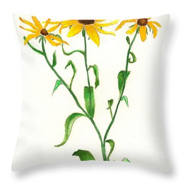 Throw Pillow featuring the painting Yellow Daisies by Nan Wright