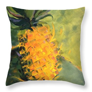 Yellow Dancing On Green Throw Pillow