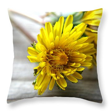 Yellow Dandelions Throw Pillow by Ester  Rogers