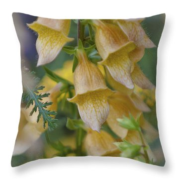 Yellow Digitalis Throw Pillow by Maj Seda