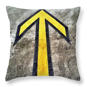Yellow Directional Arrow On Pavement Throw Pillow