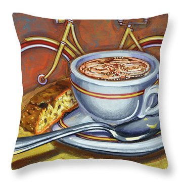 Throw Pillow featuring the painting Yellow Dutch Bicycle With Cappuccino And Biscotti by Mark Howard Jones