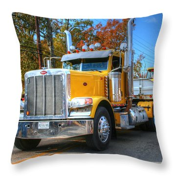 Yellow Eighteen-wheelers Throw Pillow by Ester  Rogers