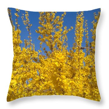 Yellow Explosion Throw Pillow by Melissa Petrey