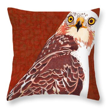 Yellow Eyed Hawk Throw Pillow