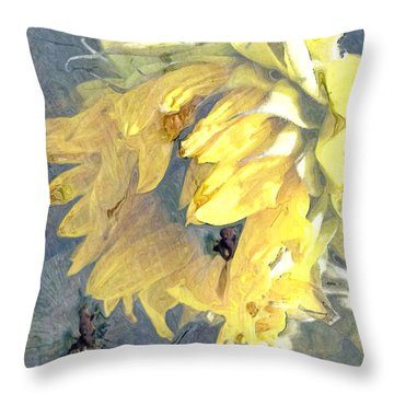 Yellow Fading Flower Throw Pillow