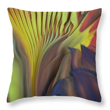 Yellow Fan And Flower Throw Pillow
