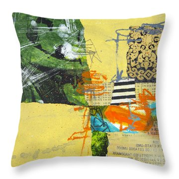 Yellow Field Throw Pillow by Elena Nosyreva