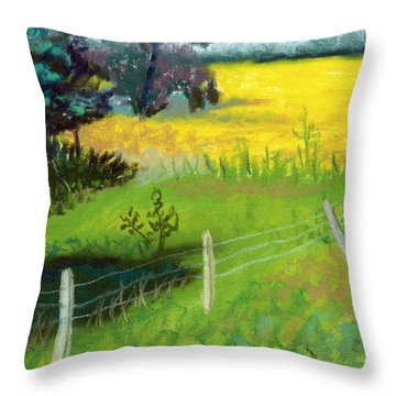 Yellow Field Throw Pillow by Tanya Provines