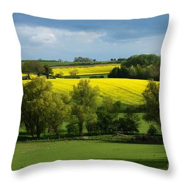 Yellow Fields In The Sun Throw Pillow