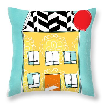 Yellow Flower House Throw Pillow by Linda Woods