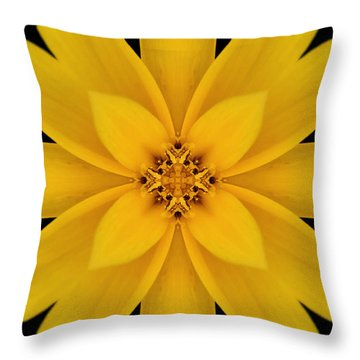 Yellow Flower Kaleidoscope Abstract Throw Pillow by Don Johnson