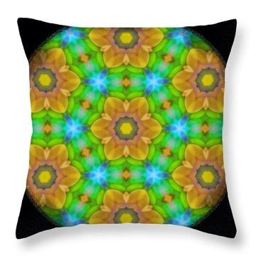 Yellow Flower Mandala Throw Pillow by Karen Buford