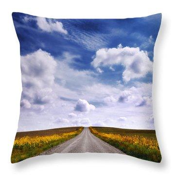 Yellow Flower Road Throw Pillow