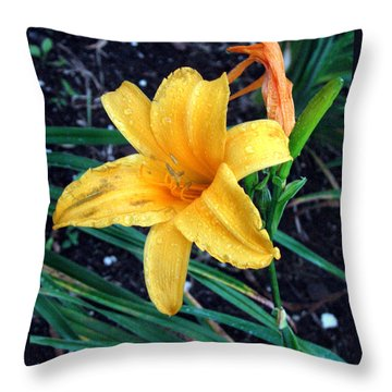 Yellow Flower Throw Pillow by Sergey Lukashin