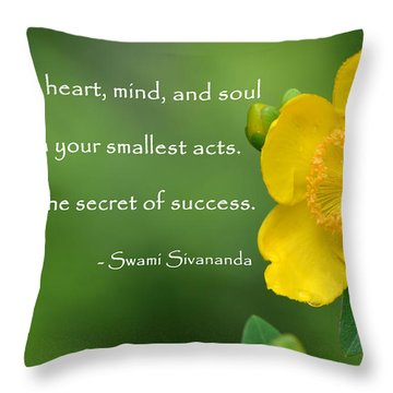 Yellow Flower With Success Quote Throw Pillow