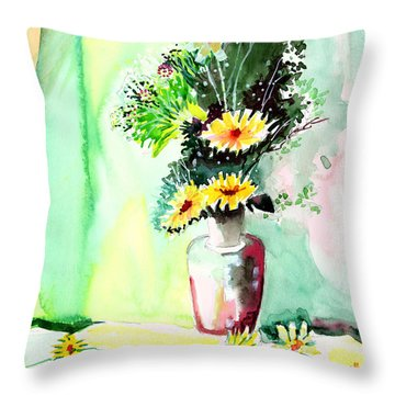 Yellow Flowers 1 Throw Pillow by Anil Nene