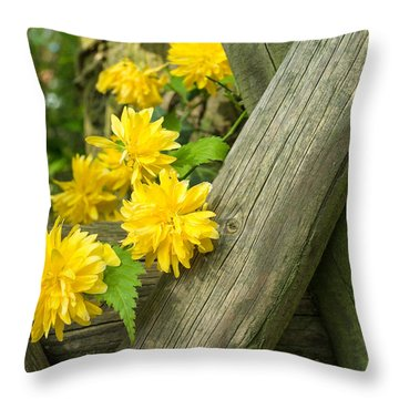 Yellow Flowers And Fence Throw Pillow