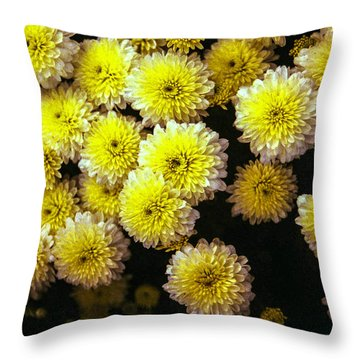 Throw Pillow featuring the painting Yellow Flowers by Michael Dohnalek