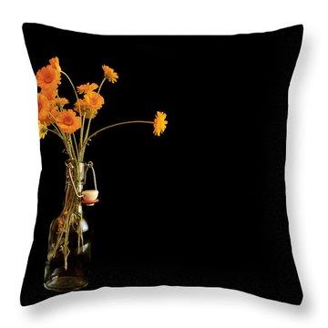Orange Flowers On Black Background Throw Pillow by Don Gradner