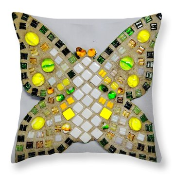Yellow Flutterby Throw Pillow by Lisa Brandel