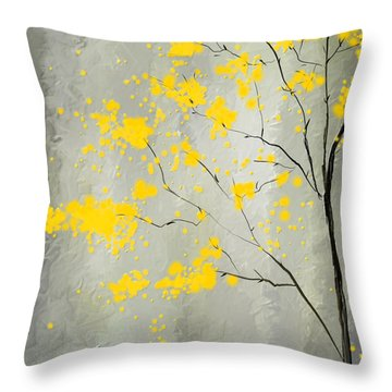 Yellow Foliage Impressionist Throw Pillow