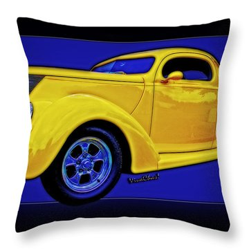 Yellow Ford Coupe Poster Style Throw Pillow