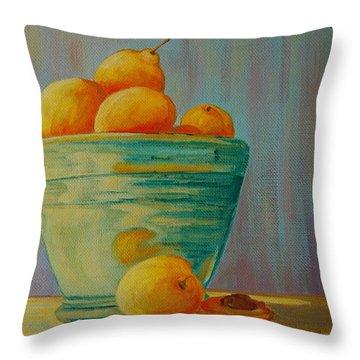 Yellow Fruit Blue Bowl Throw Pillow