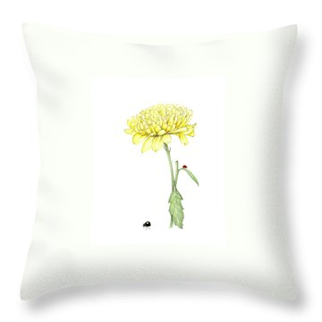Yellow Fun Throw Pillow by Heidi Kriel