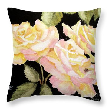 Yellow Garden Roses Throw Pillow