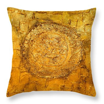 Yellow Gold Mixed Media Triptych Part 1 Throw Pillow