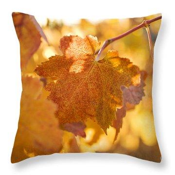 Yellow Grape Leaves Throw Pillow