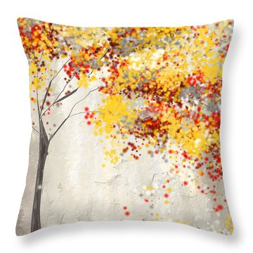 Yellow Gray And Red Throw Pillow