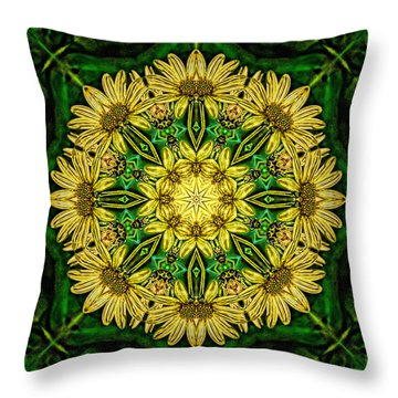 Throw Pillow featuring the photograph Yellow Green Flower Mandala by Beth Sawickie