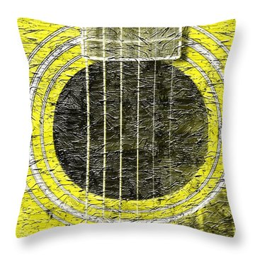 Yellow Guitar - Digital Painting - Music Throw Pillow by Barbara Griffin