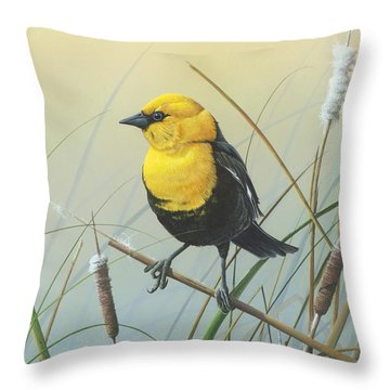 Throw Pillow featuring the painting Yellow-headed Black Bird by Mike Brown