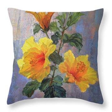 Yellow Hibiscus Flower Throw Pillow