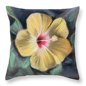 Throw Pillow featuring the pastel Yellow Hibiscus by Melinda Saminski