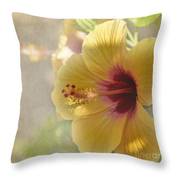 Yellow Hibiscus Throw Pillow by Peggy Hughes