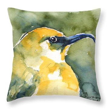 'akiapola'au - Hawaiian Yellow Honeycreeper Throw Pillow