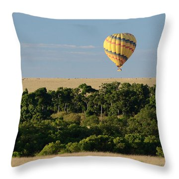 Throw Pillow featuring the photograph Yellow Hot Air Balloon Masai Mara by Tom Wurl