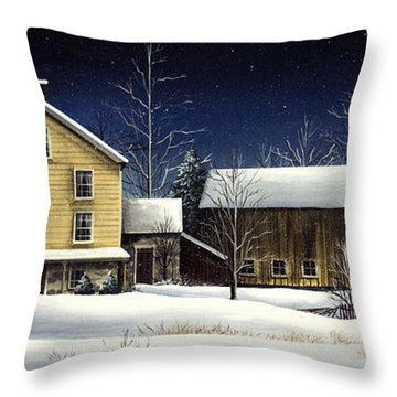 Yellow House Throw Pillow by Debbi Wetzel