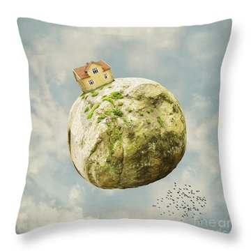 Yellow House In The Sky Throw Pillow