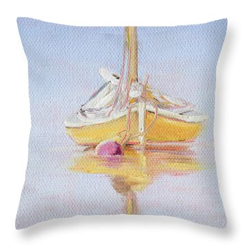 Yellow Hull Throw Pillow by Trina Teele