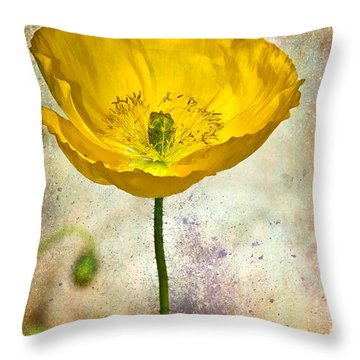 Yellow Icelandic Poppy And Texture Throw Pillow