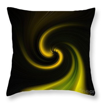 Throw Pillow featuring the digital art Yellow Into Black by Trena Mara